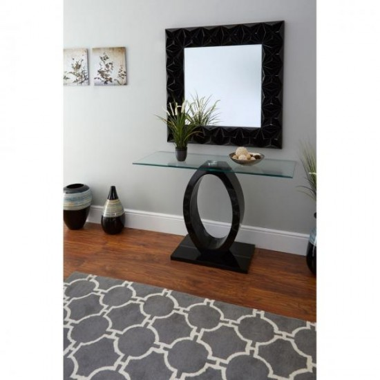 Cecile Black Square High Gloss 3D Effect Wall Mirror