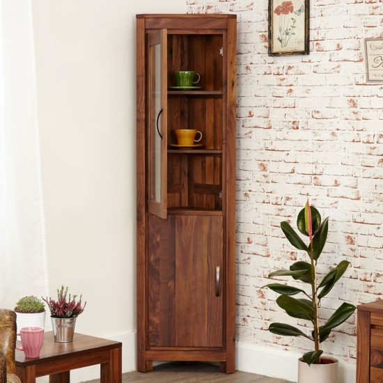 Emmaline Walnut Glazed Corner Display Cabinet