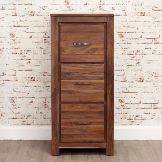 Emmaline Walnut 3 Drawer Filing Cabinet