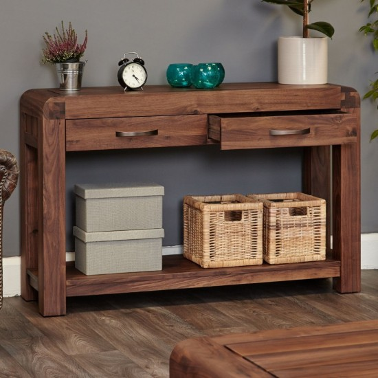 Libby Walnut Console Table with 2 Drawers
