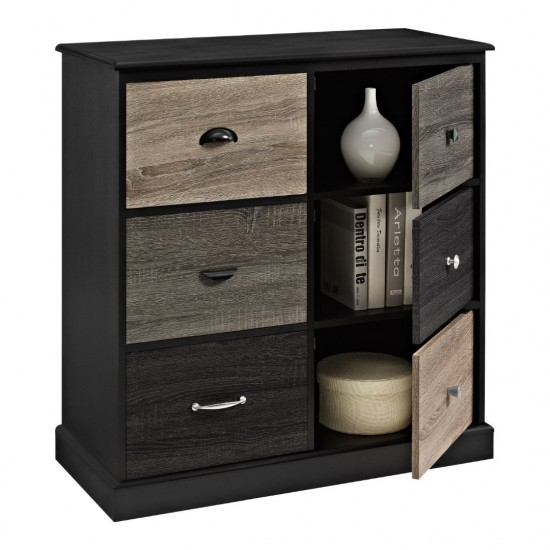 Nestor Black 6 Door Multi-Colour Storage Cabinet