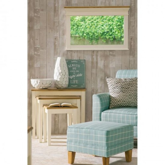 Highquay Cream Landscape Wooden Frame Wall Mirror