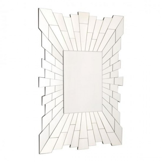 Kenton Rectangular Slim Glass Reflective Tiles Frame Wall Mirror
