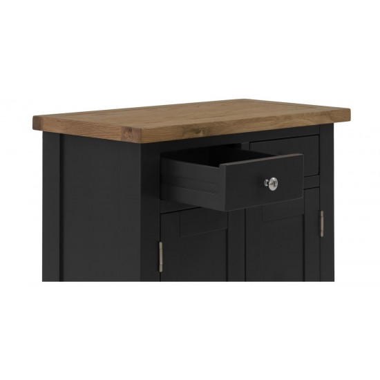 Whitman Blue Black Solid Oak Small 2 Door Cabinet