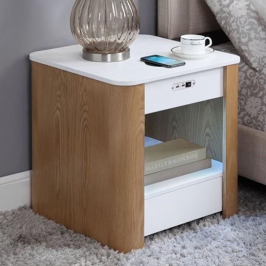 Solaris White Bedside Table Wireless Charge USB Bluetooth Speakers Night Light