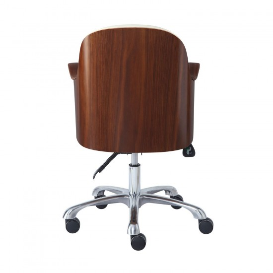 Tunstead Cream Faux Leather Walnut back Executive Office Chair