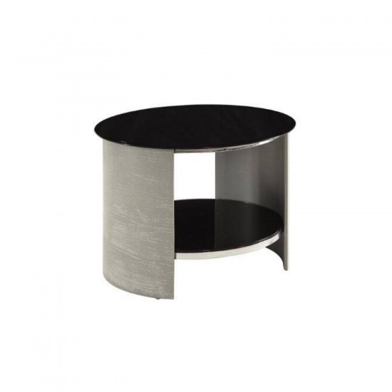 Hirane Grey Round Side Table Black Glass