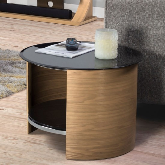 Hirane Oak Round Side Table Black Glass