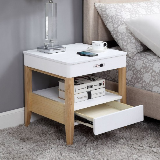 Solaris White Smart Side Table USB Wireless Charging Bluetooth Speakers