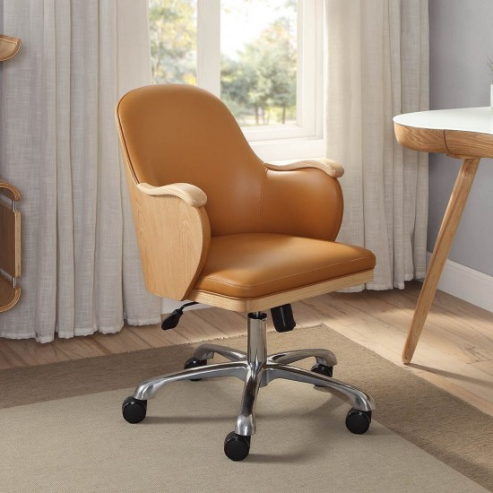 Tunstead Tan Faux Leather Ash Back Executive Office Chair