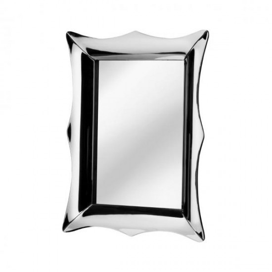 Senegal Silver Rectangular Reflective Frame Bevelled Corners Wall Mirror