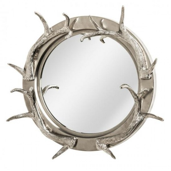 Buzz Silver Round Steel Nickel Finish Antlers Frame Wall Mirror