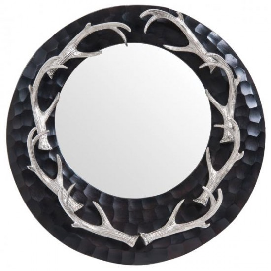 Buzz Black Round Frame with 8 Nickel Antlers Wall Mirror