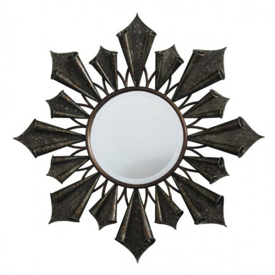 Brisk Gold Round Antique Finish Starburst Design Wall Mirror