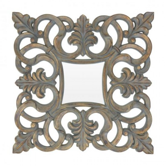 Crown Champagne Square Antique Finish Leaf Pattern Design Wall Mirror