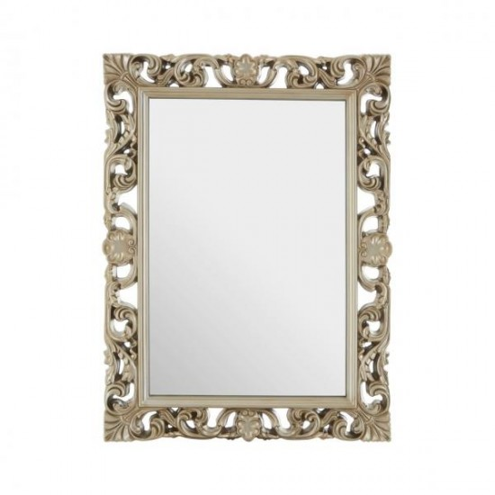 Scout Gold Rectangular Champagne Finish Floral and Shell Patterns Wall Mirror