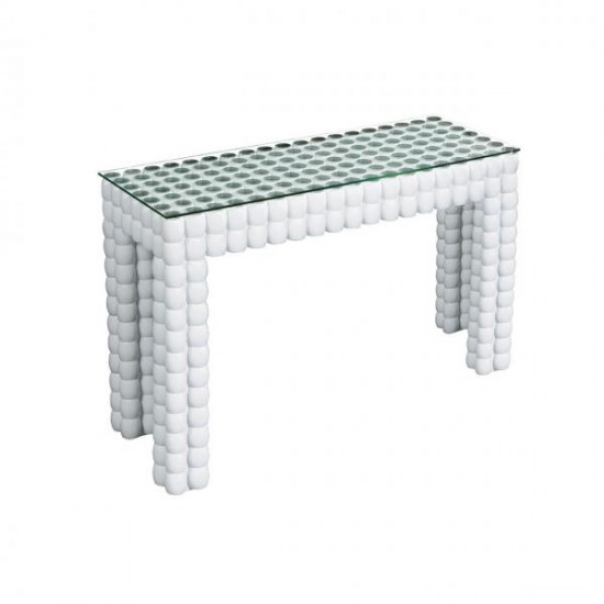 Mikko White Tempered Glass Contemporary Cylinder Design Console Table