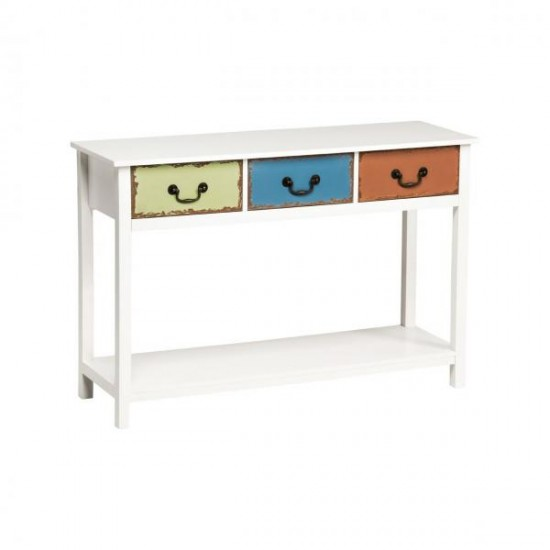 Maka White Wooden 3 Coloured Drawers Console Table