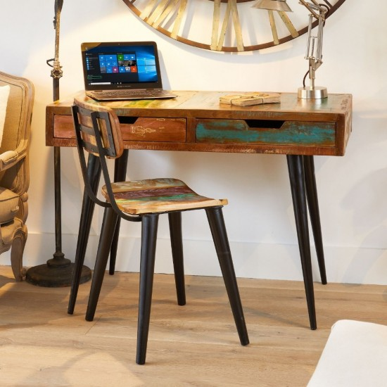 Apollo Reclaimed Wood Computer Desk with 2 Drawers