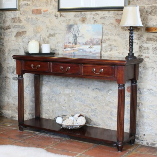 Brody Mahogany Large Console Table with 3 Drawers