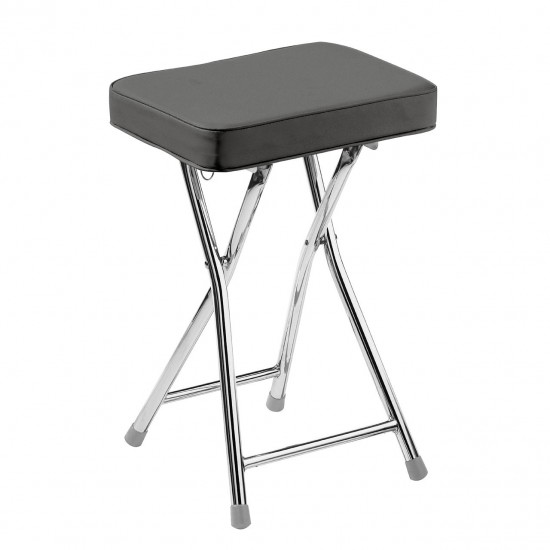 Aston Grey Padded Faux Leather Chromed Metal Frame Folding Stool