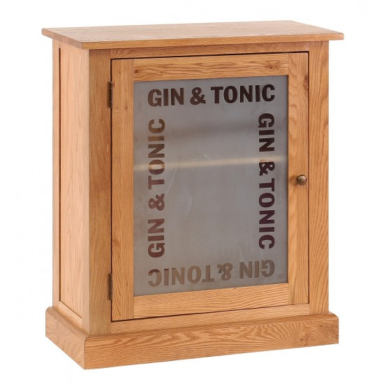 Lark Glazed 1 Door Frosted Glass Gin & Tonic Emblem Drinks Cabinet