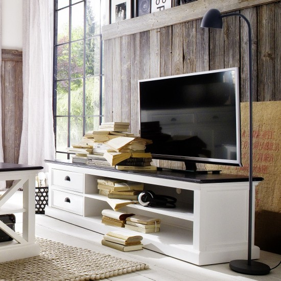 Cannes Contrast Large White TV Stand