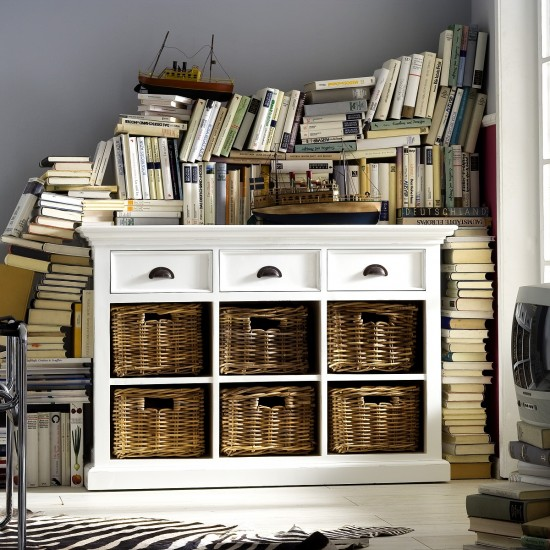 Cannes White Sideboard 3 Drawers 6 Rattan Baskets