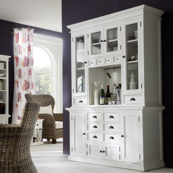 Cannes White Kitchen Display Cabinet Hutch Unit