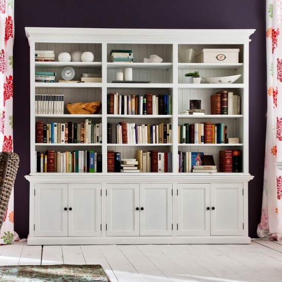 Cannes White Triple Display Cabinet Buffet Hutch 6 Doors