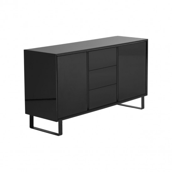 Atlanta Black High Gloss 2 Door 3 Drawer Sideboard