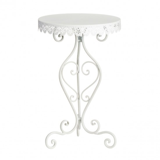 Gracia White Round Metal Lace Detail Side Table