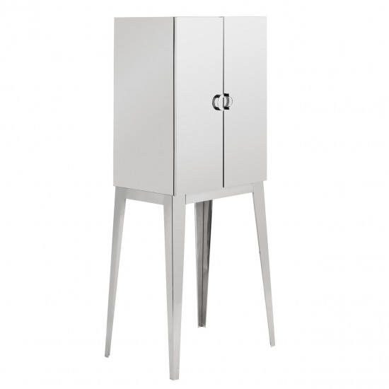 Layla Silver Stainless Steel Reflective 2 Door Cabinet