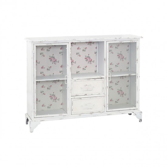 Augustin White Metal Glazed 2 Door 2 Drawer Cabinet