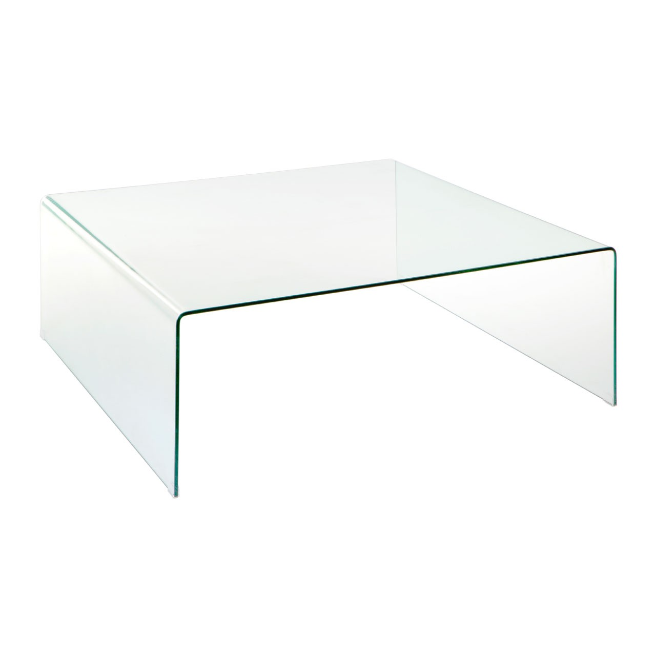 Picture of: Billie Clear Bent Glass Square Coffee Table