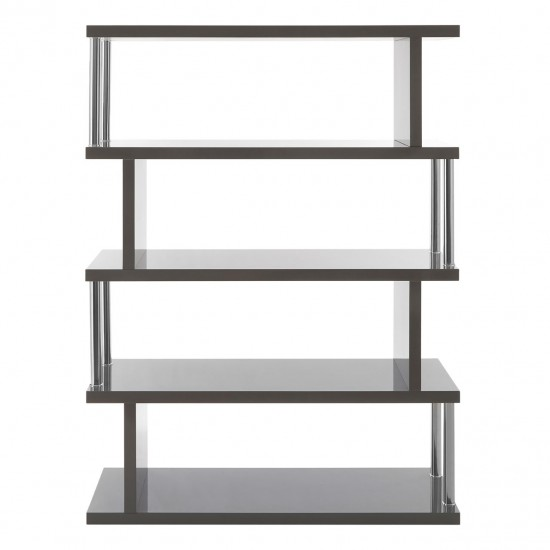 Krema Grey Gloss Stainless Steel 4 Tier Shelving Unit