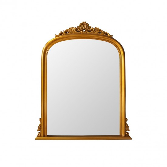 Rosie Gold Rectangular Piped Design Sides and Arched Top Portrait Wall Mirror