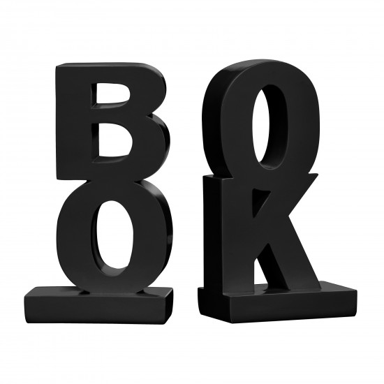 Black High Gloss Finish Set of 2 Word Book Bookends