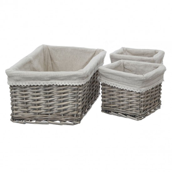 Natural Willow Grey Fabric Lining Set of 3 Storage Baskets