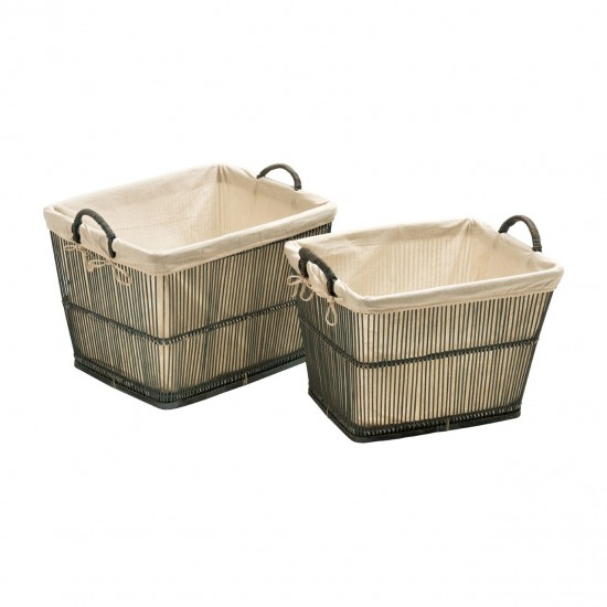 Rustic Grey Washed Bamboo Cotton Lining Rattan Set of 2 Storage Baskets