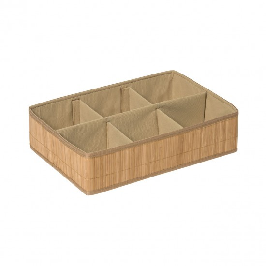 Dexter Natural Bamboo Cotton Lining 6 Section Storage Box
