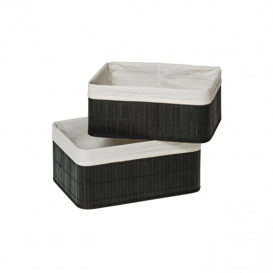 Dexter Black Bamboo White Cotton Lining Set of 2 Storage Boxes