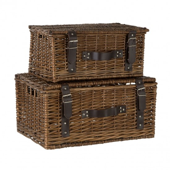 Willow Natural Faux Leather Trim Set of 2 Storage Baskets