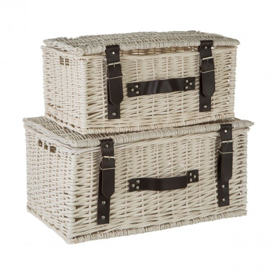 Willow White Faux Leather Trim Set of 2 Storage Baskets