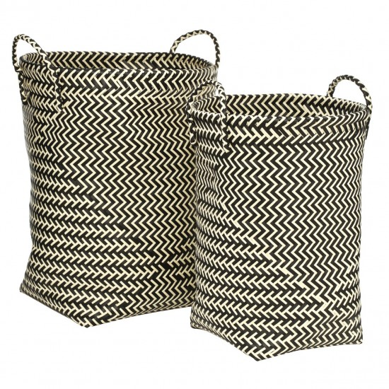 Woven Black and White Set of 2 Laundry Baskets