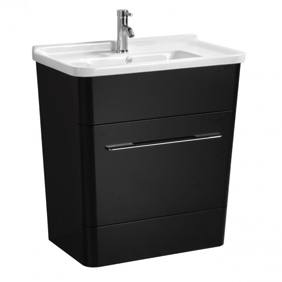 Albert Black High Gloss Bathroom Ceramic Basin and Cabinet Set