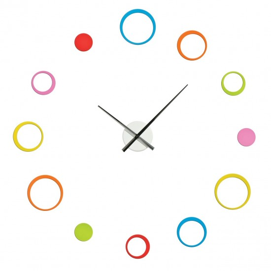 12 Multi Coloured Circles Plastic DIY Customisable Layout Wall Clock