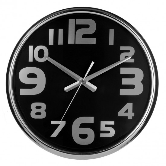 Modern Stainless Steel Frame Black Face Silver Numbers Wall Clock