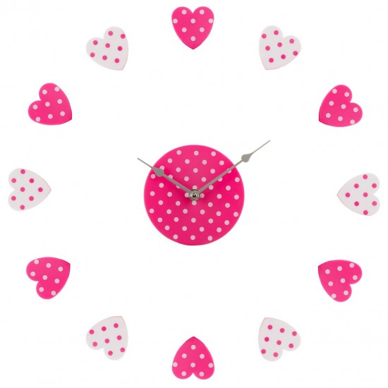 Pink and White Hearts Plastic DIY Customisable Layout Wall Clock
