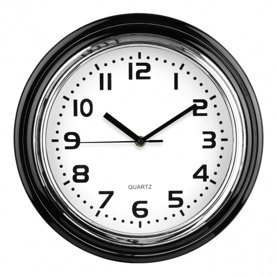 Modern Black Chrome Finish Plastic White Face Wall Clock